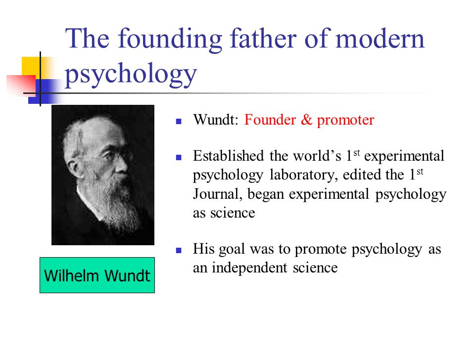 founding fathers of psychology Founding fathers david k robinson on the creator of psychophysics was certainly fechner himself i would rather call weber the father of experimental psychology.