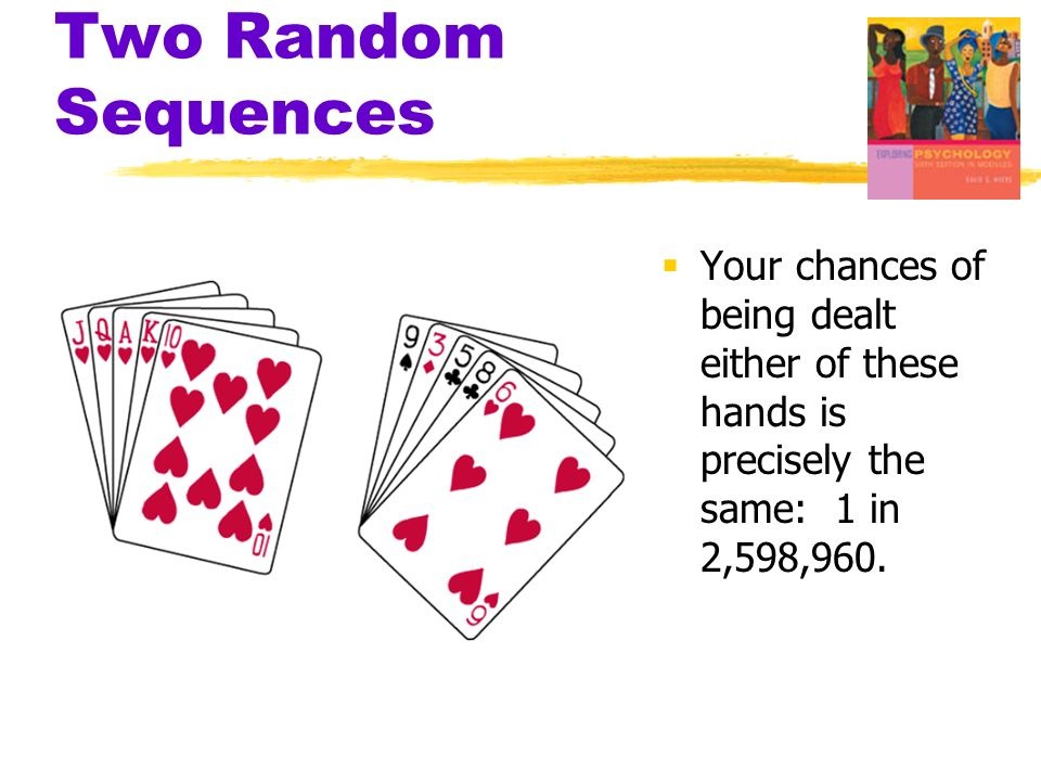 Two Random Sequences Your chances of being dealt either of these hands is precisely the same: 1 in 2,598,960.