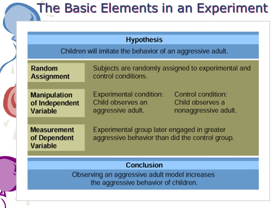 The Basic Elements in an Experiment