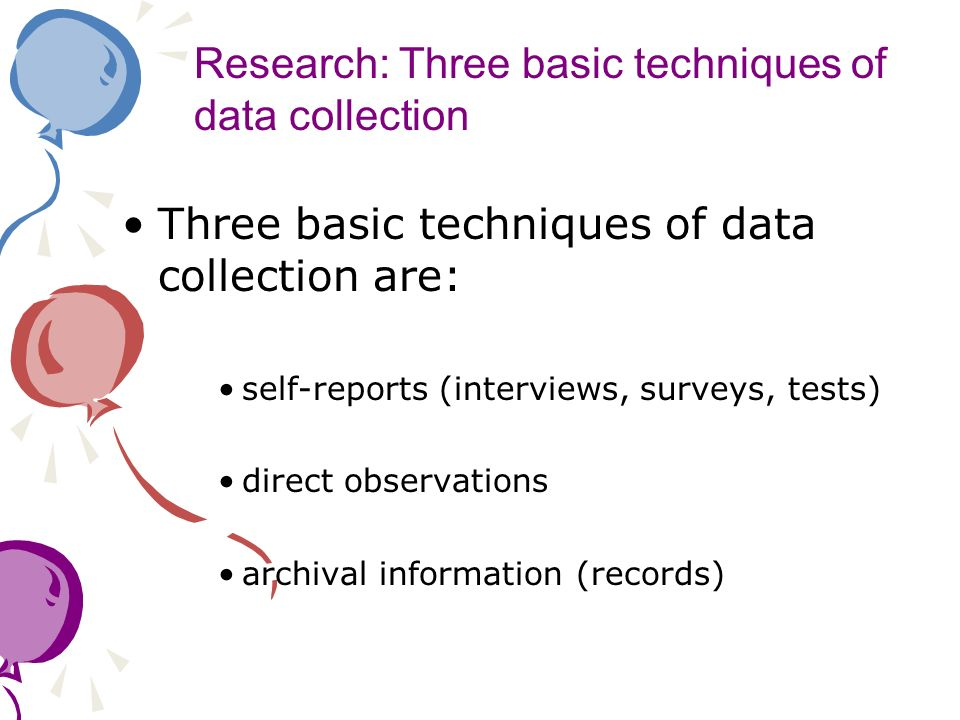 Research: Three basic techniques of data collection