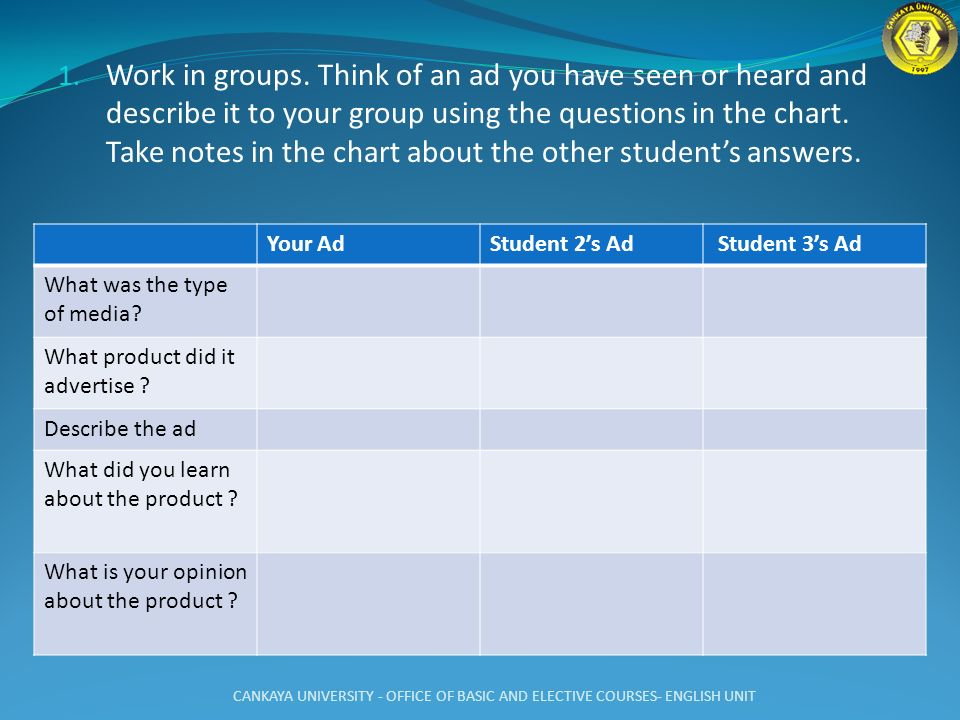 Work in groups. Think of an ad you have seen or heard and describe it to your group using the questions in the chart. Take notes in the chart about the other student's answers.