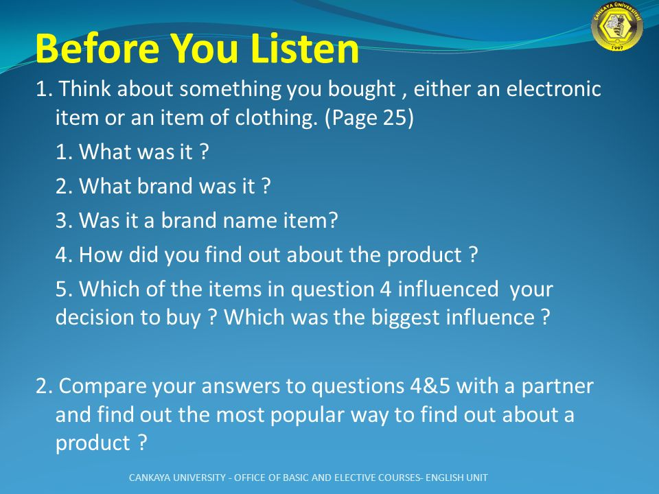 Before You Listen