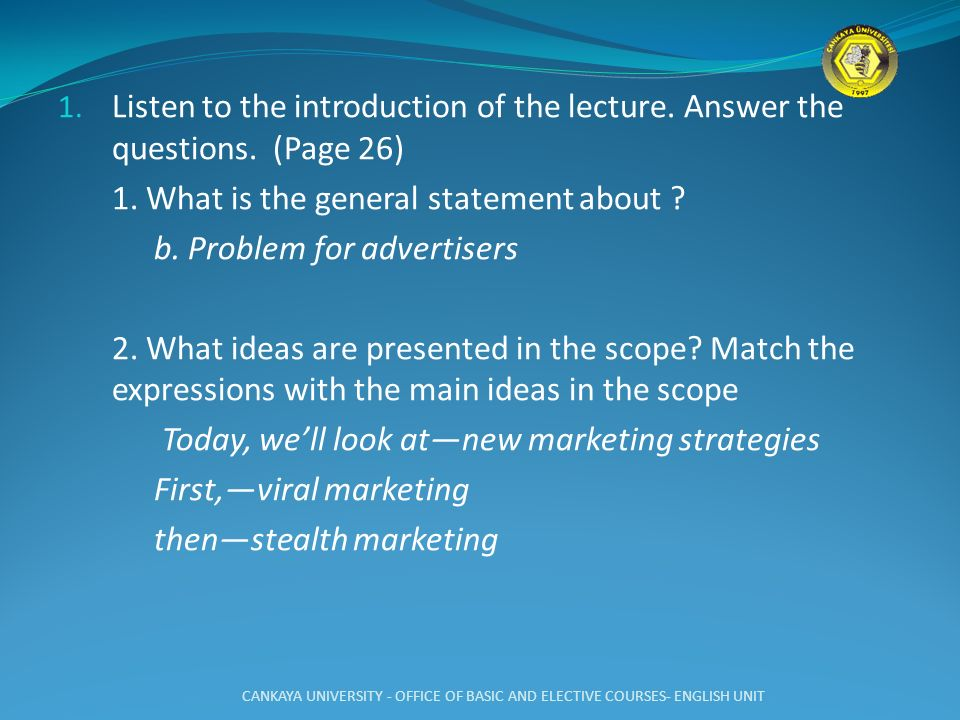 1. What is the general statement about b. Problem for advertisers