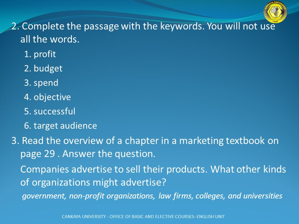2. Complete the passage with the keywords