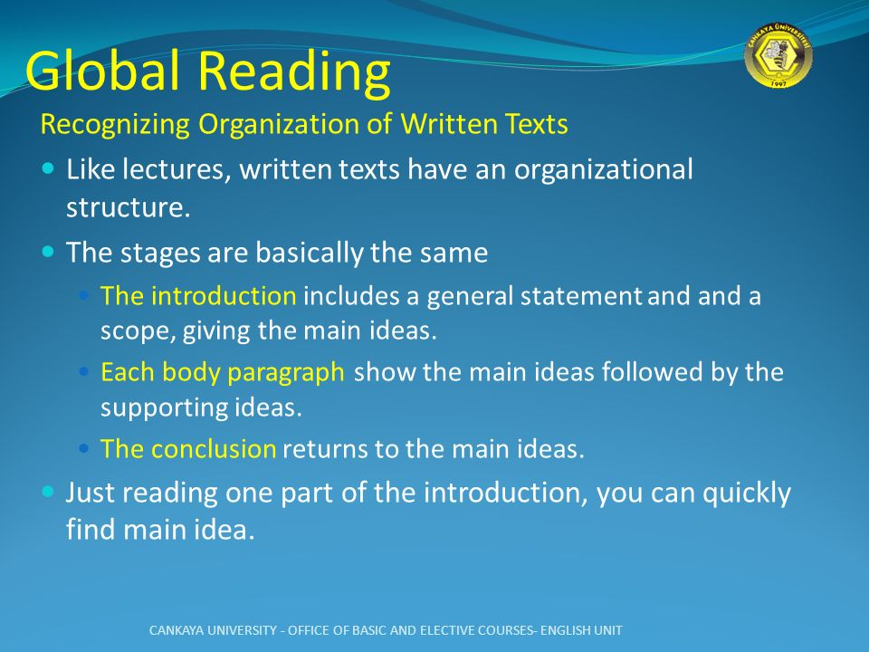 Global Reading Recognizing Organization of Written Texts
