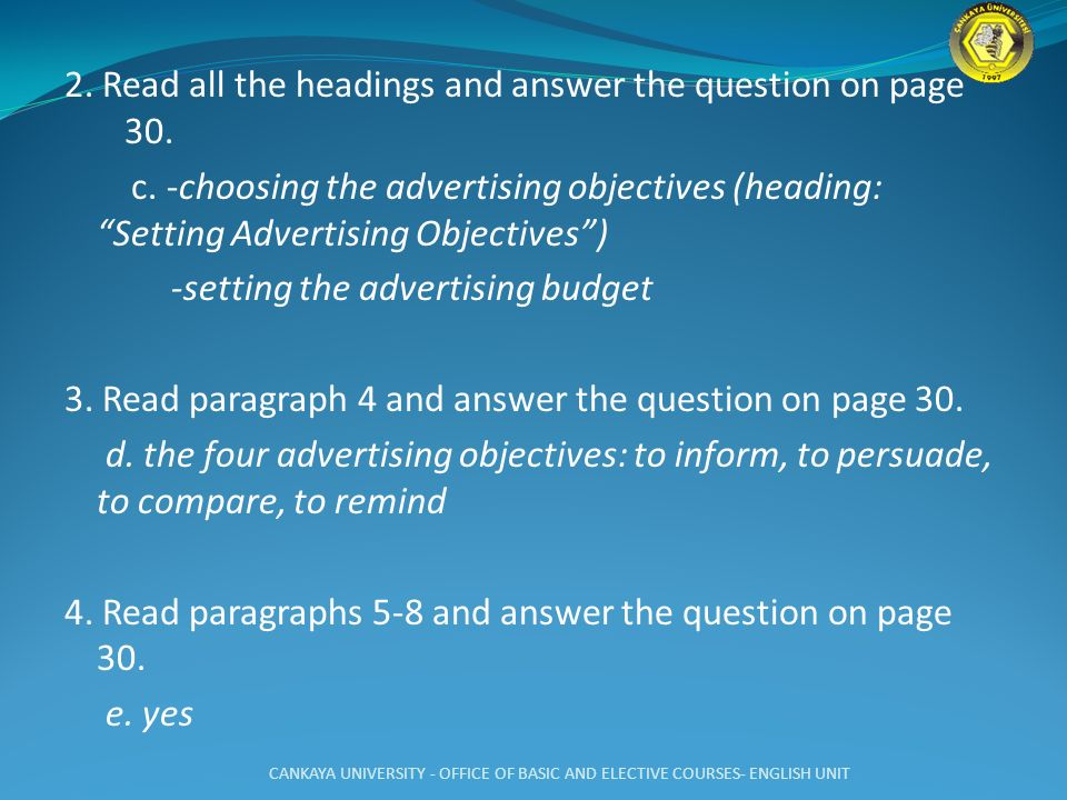 2. Read all the headings and answer the question on page 30. c