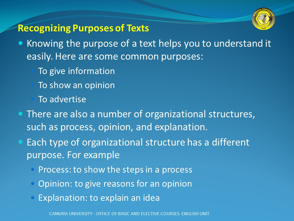Recognizing Purposes of Texts