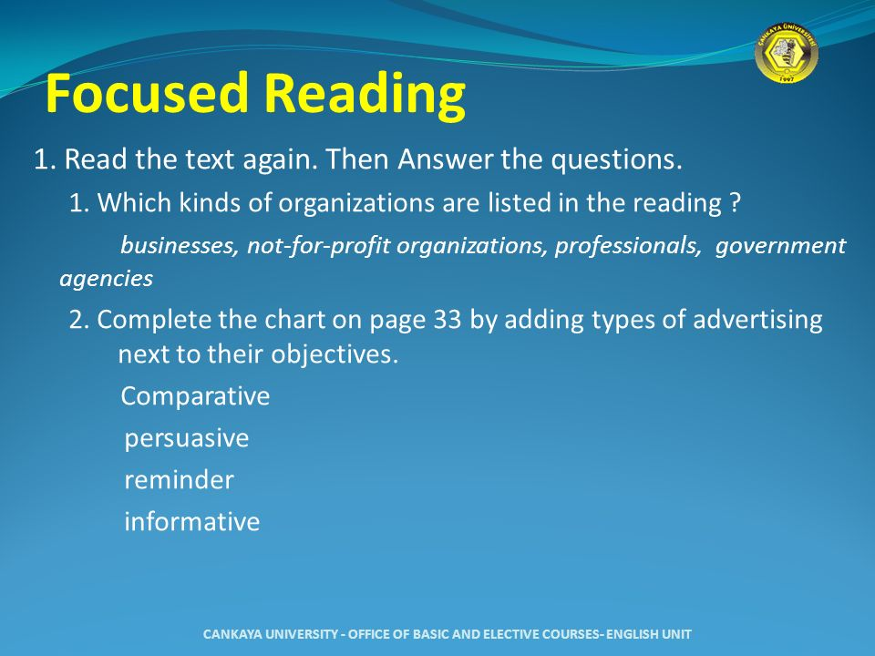 Focused Reading 1. Read the text again. Then Answer the questions.
