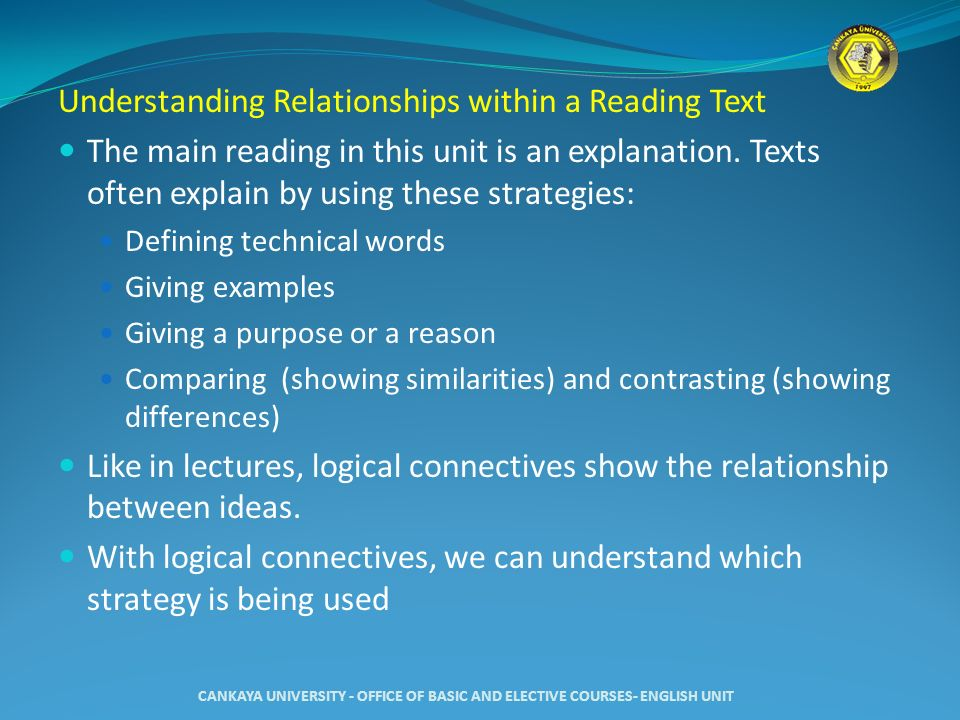 Understanding Relationships within a Reading Text