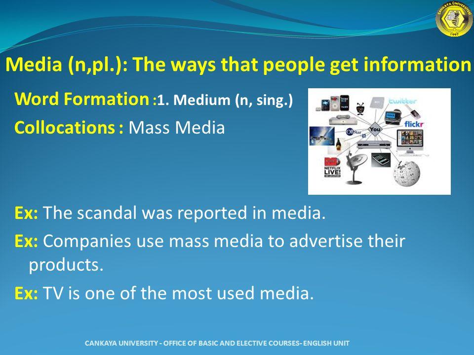 Media (n,pl.): The ways that people get information