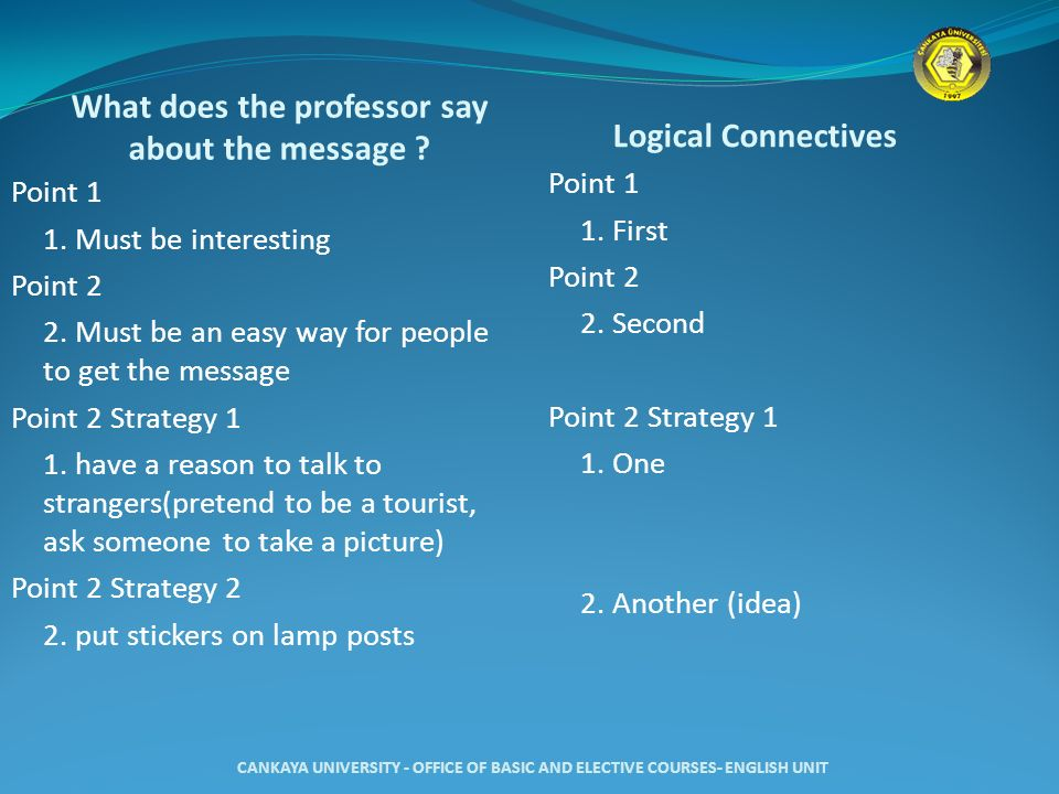 What does the professor say about the message