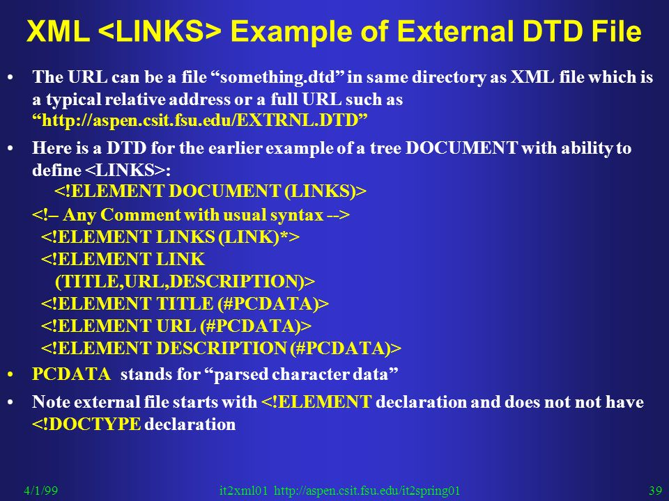 How to write a dtd file
