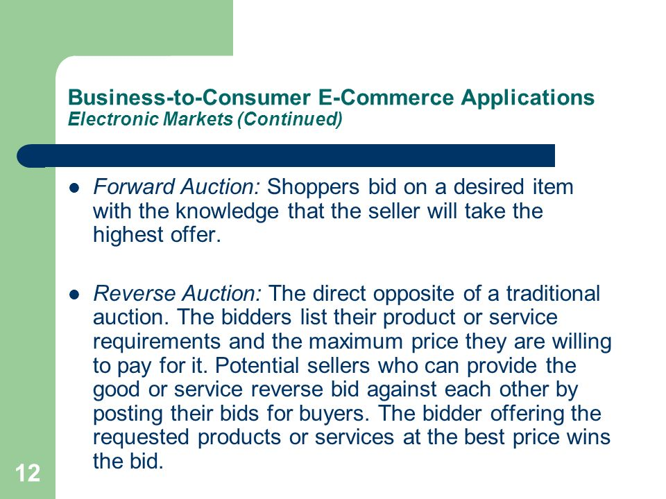 Business-to-Consumer E-Commerce Applications Electronic Markets (Continued)