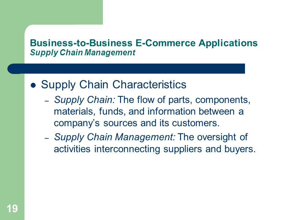 Business-to-Business E-Commerce Applications Supply Chain Management