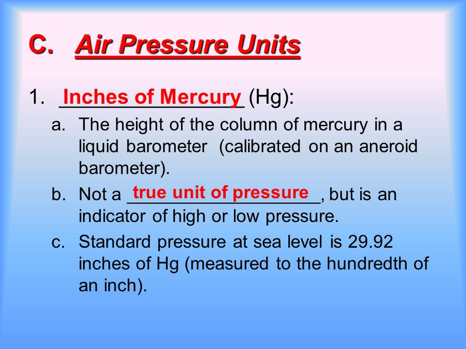 Air Pressure Units : Air pressure and wind ppt download