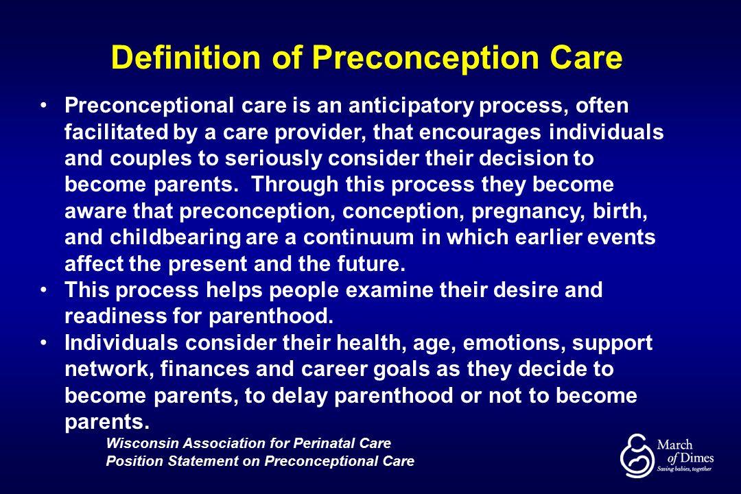 Preconceptional Health: Who Cares?