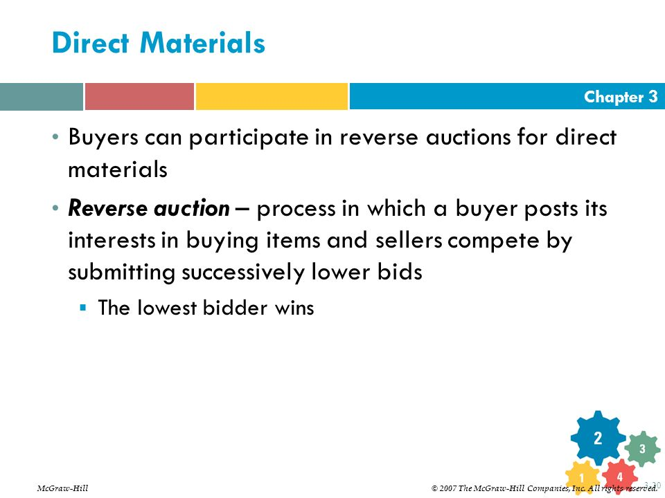 Direct Materials Buyers can participate in reverse auctions for direct materials.