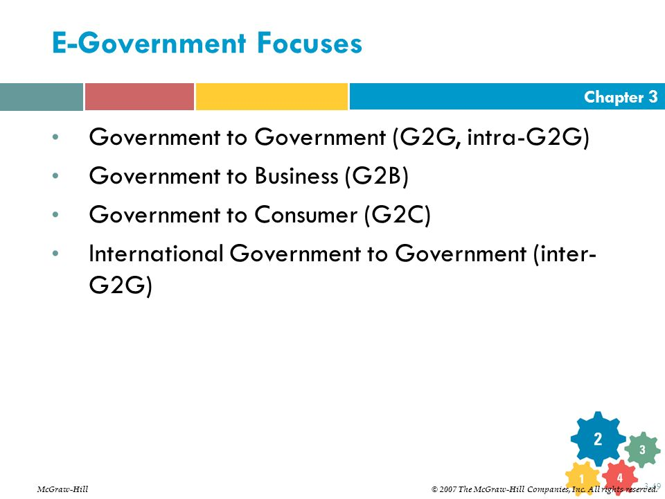 E-Government Focuses Government to Government (G2G, intra-G2G)