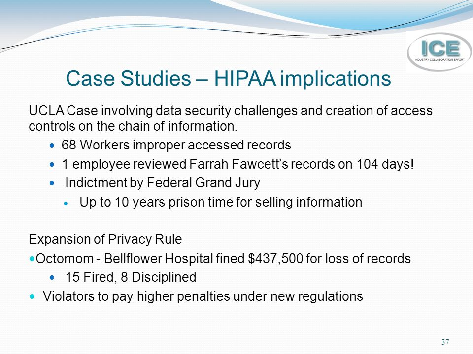 hipaa case study Small healthcare providers face even more challenges in their effort to be hipaa  compliant this paper will use a case study to examine factors.