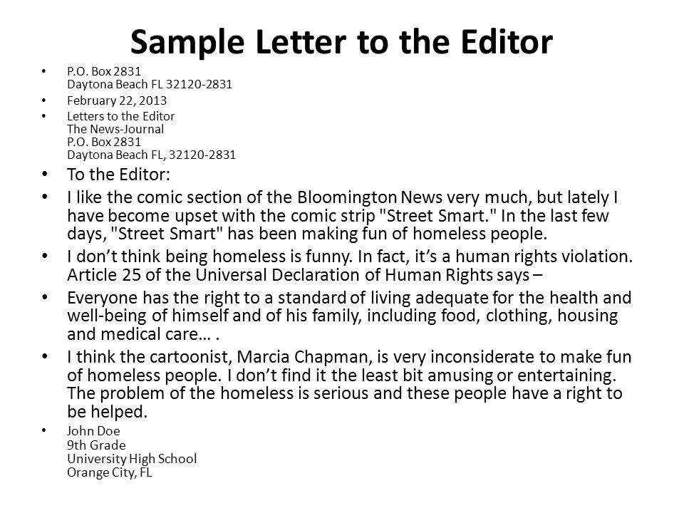 How to write a letter to the editor wall street journal