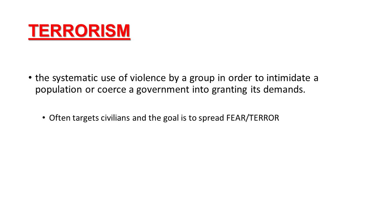 the systemic use of terror as a means of coercion Define terrorist attack terrorist attack synonyms, terrorist attack pronunciation, terrorist attack translation, english dictionary definition of terrorist attack noun 1 terrorist attack - a surprise attack involving the deliberate use of violence against civilians in the hope of attaining political or religious aims.