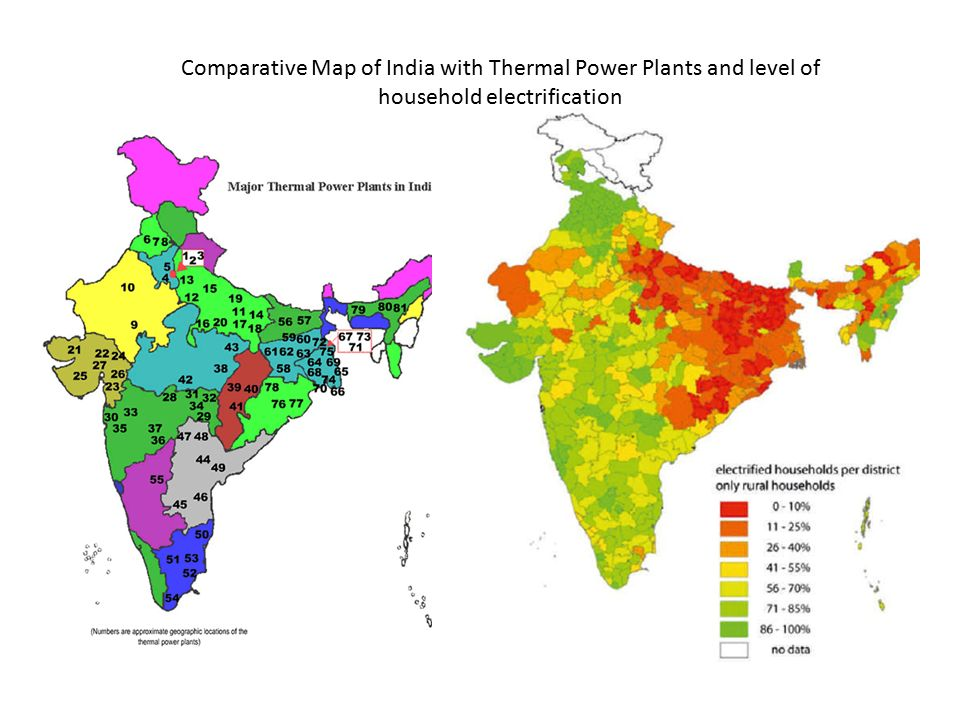 Comparative Map of India with Thermal Power Plants and level of household electrification