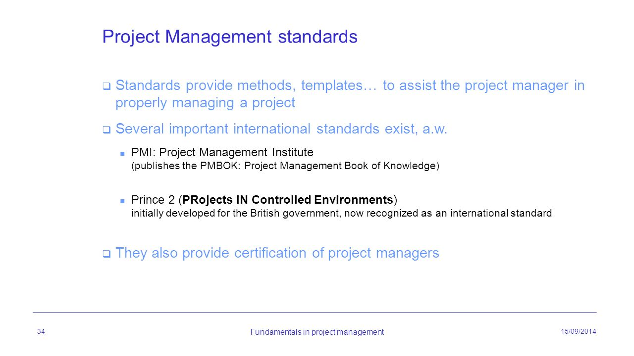 project management standards International standards the ipma project excellence baseline® (ipma peb) international project management association (ipma.