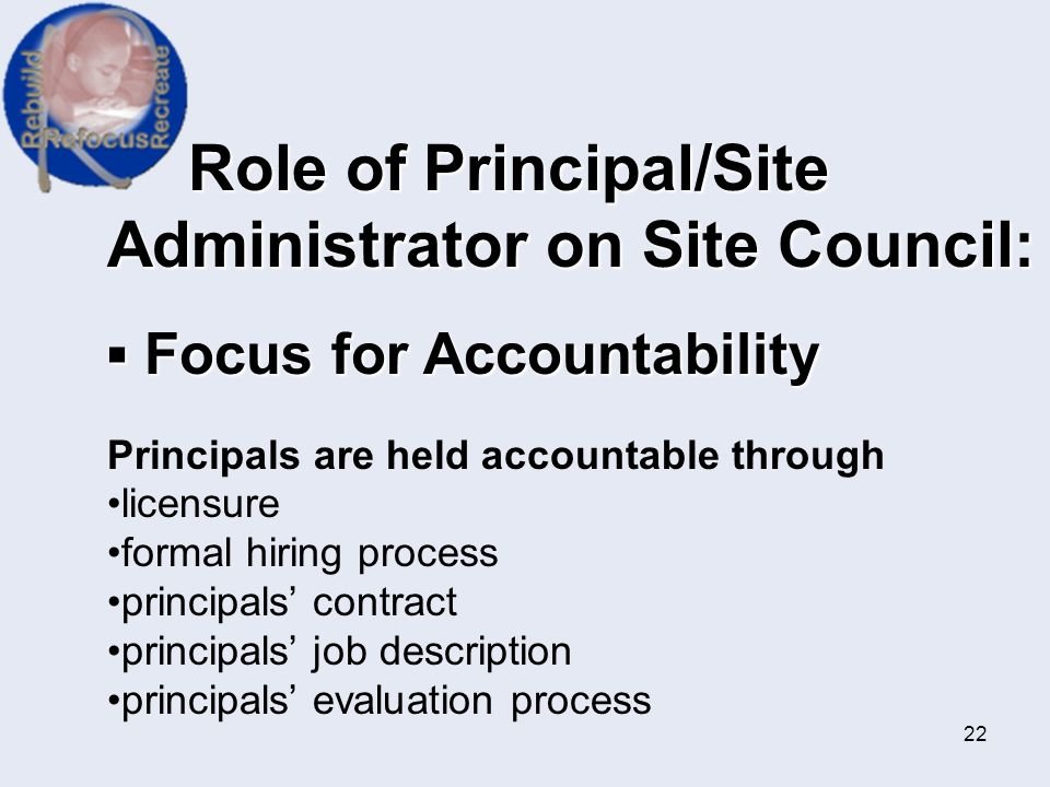 Role of Principal/Site Administrator on Site Council: