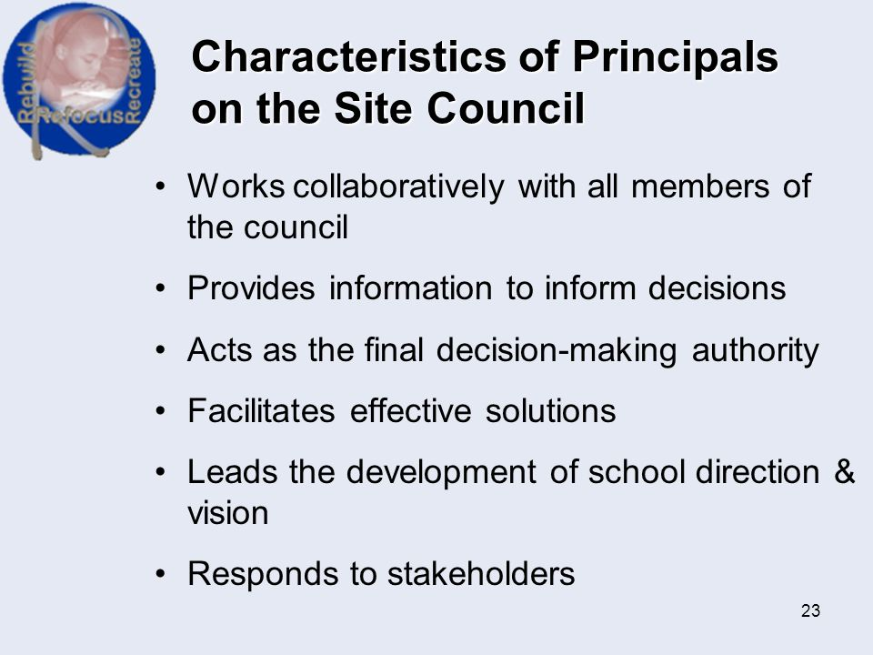 Characteristics of Principals on the Site Council