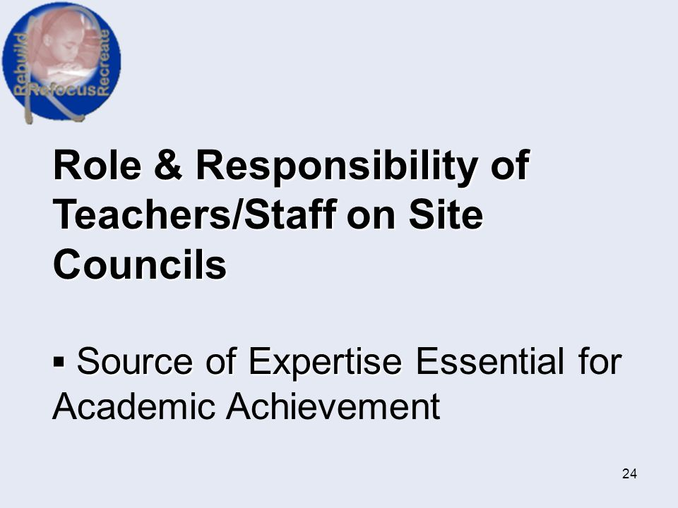 Role & Responsibility of Teachers/Staff on Site Councils