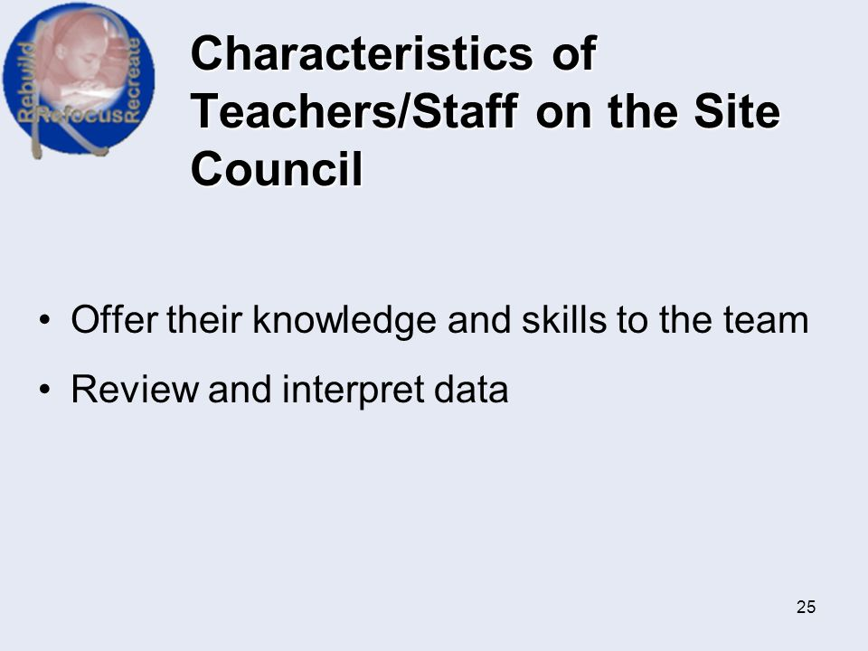 Characteristics of Teachers/Staff on the Site Council
