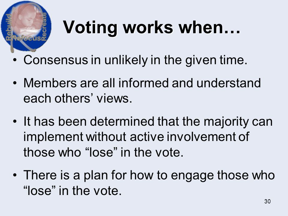 Voting works when… Consensus in unlikely in the given time.