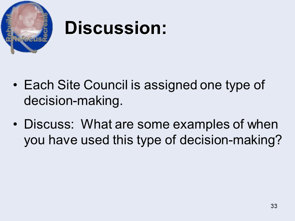 Discussion: Each Site Council is assigned one type of decision-making.