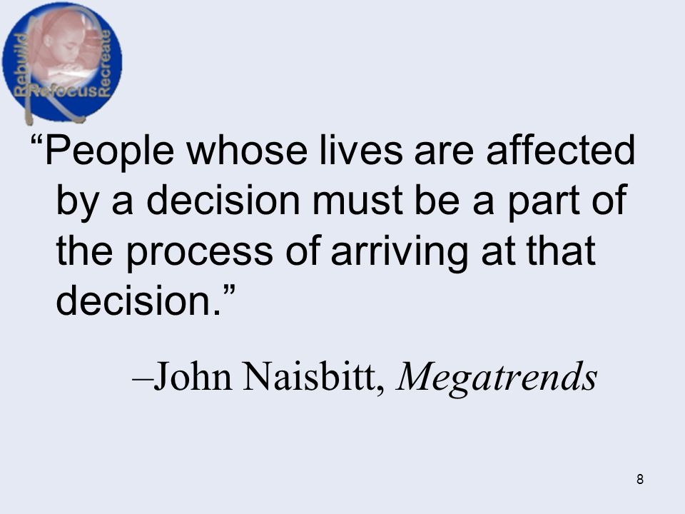 People whose lives are affected by a decision must be a part of the process of arriving at that decision.