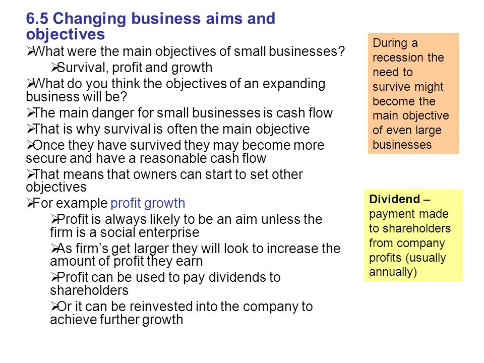 Aims and objectives of small medium and large business