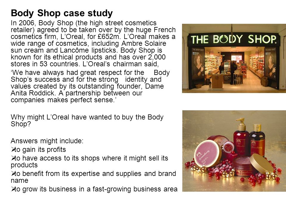 the body shop case study on Assignment samples & case study strategic management help on: the body shop Þ the marketing channel which should be adopted by the body shop in case.