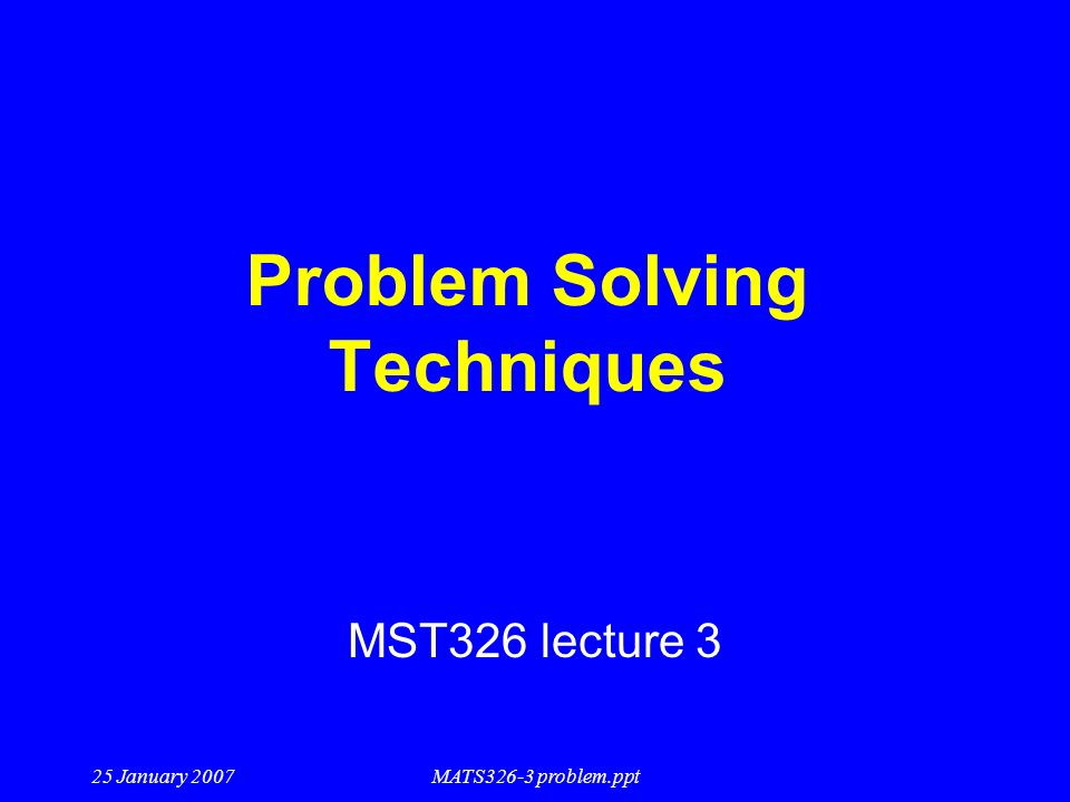 Solving Technical Problems
