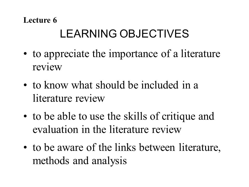 why is a literature review important