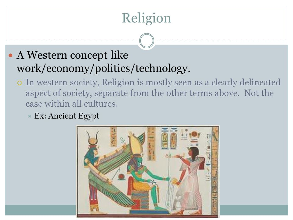 Religion A Western concept like work/economy/politics/technology.