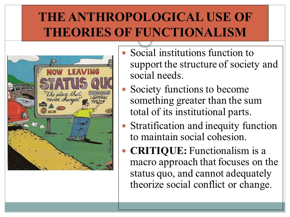 THE ANTHROPOLOGICAL USE OF THEORIES OF FUNCTIONALISM