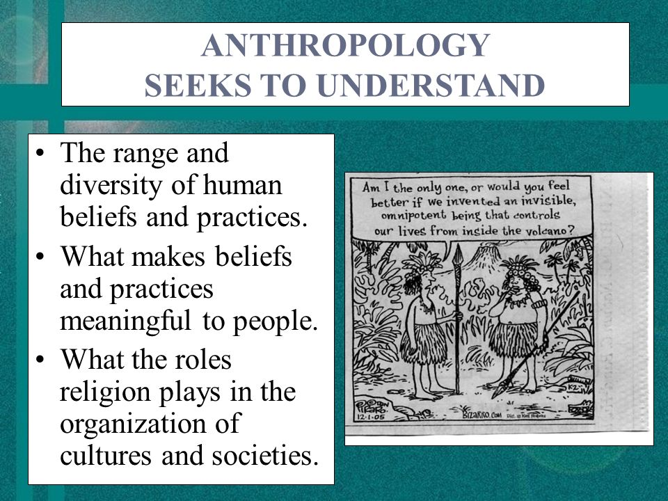 ANTHROPOLOGY SEEKS TO UNDERSTAND