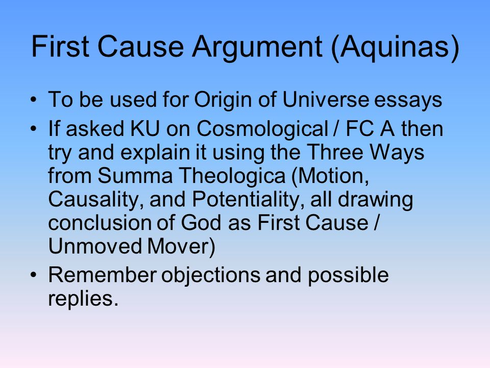 Aquinas Five Proofs for the Existence of God
