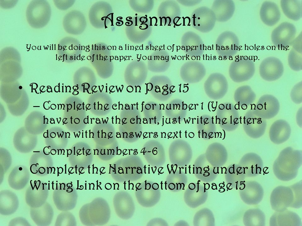 Assignment: Reading Review on Page 15