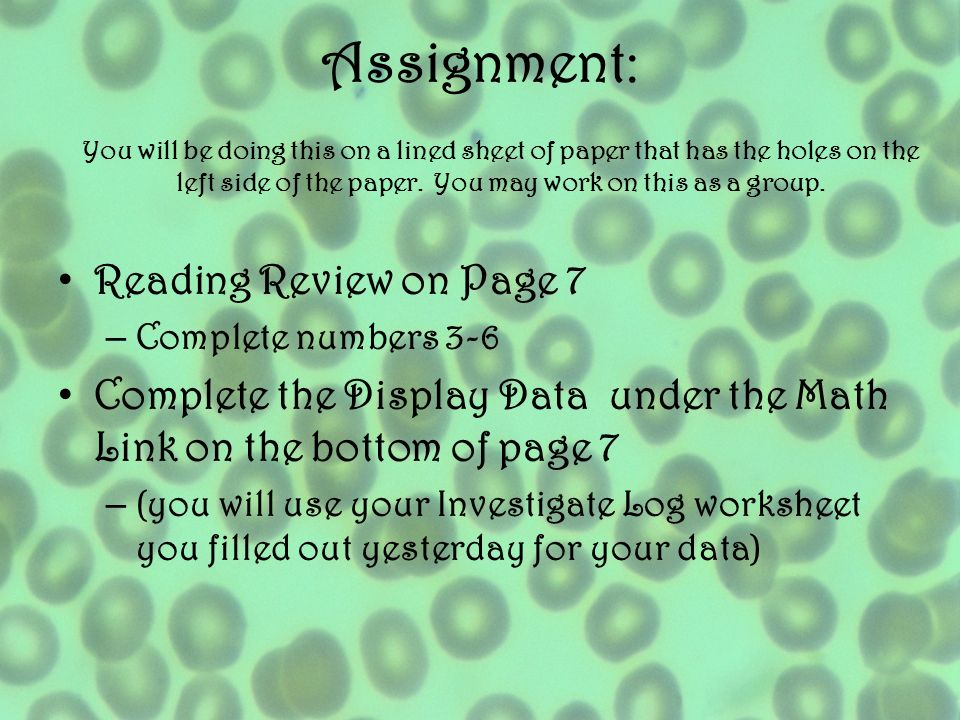 Assignment: Reading Review on Page 7