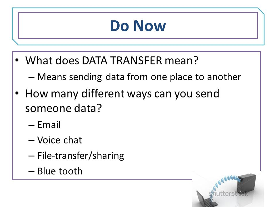 explain the way that data transmitted Data comm mid-term it provides a standard way of communicating that can translate between software from different because the transmitted data is binary.