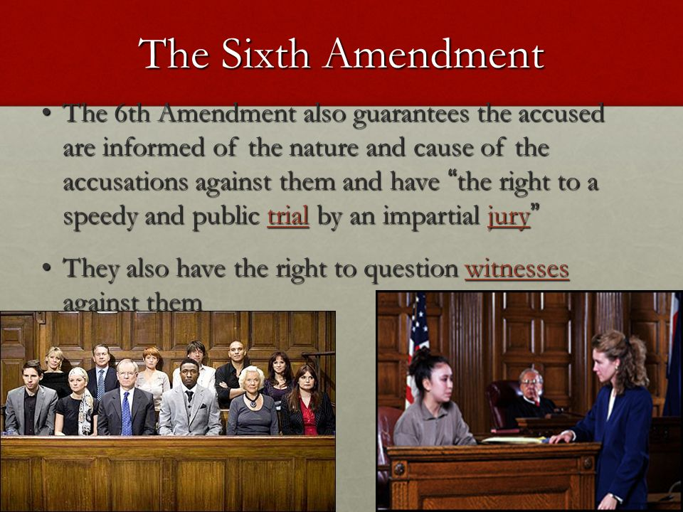 """the sixth amendment providing justice for everyone The law does not guarantee justice posted on july 15, 2013 july 15,  instead we have laws that attempt to do the heavy lifting in providing a machine that gives everyone a chance at justice a chance to make their case  in part, the sixth amendment: """"in all criminal prosecutions, the accused shall enjoy the right to a speedy and."""
