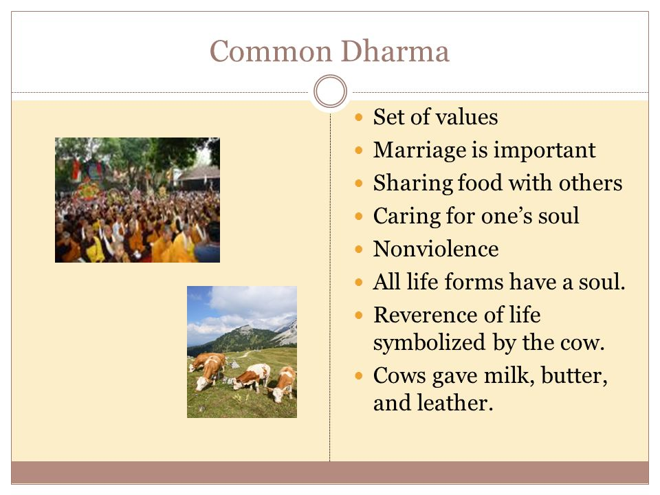 Common Dharma Set of values Marriage is important