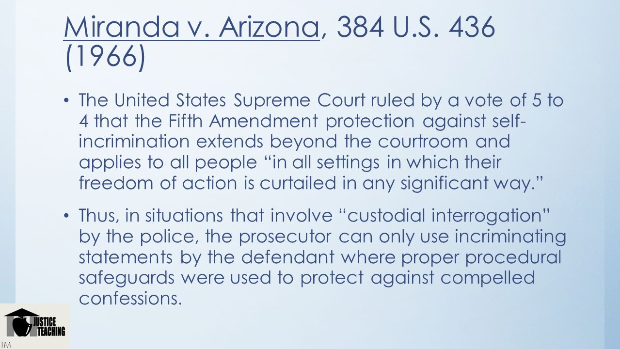 miranda v arizona 4 essay Read this essay on miranda v arizona come browse our large digital warehouse of free sample essays get the knowledge you need in order to pass your classes and more.