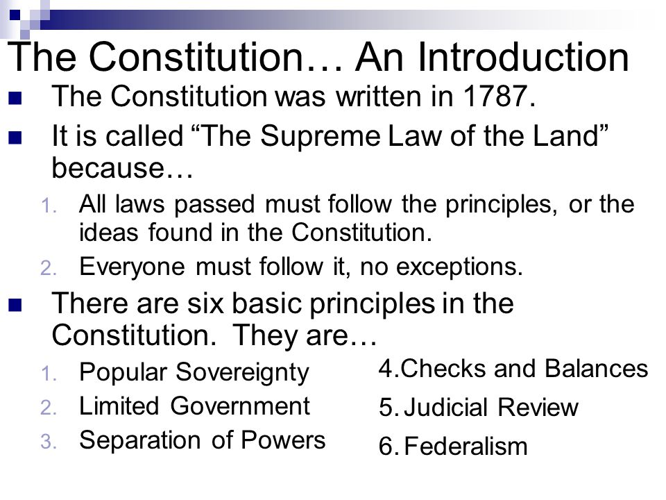 an introduction to the constitutional principles This course will serve as an introduction to american  in which the broad themes of constitutional principles,  introduction to american politics.
