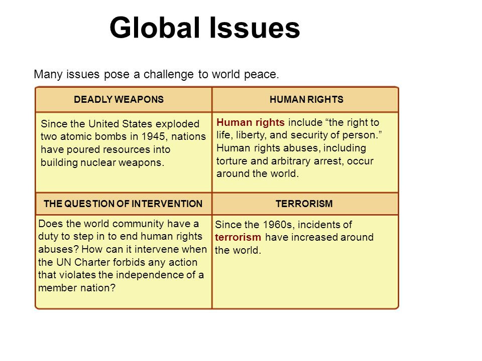 Global Issues Many issues pose a challenge to world peace.